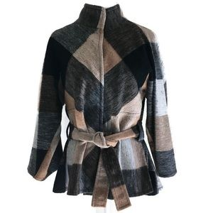 BLACKY DRESS BERLIN Wool Blend Plaid Coat